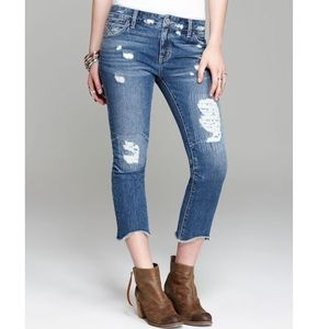 Free people jeans rugged ripped denim crops